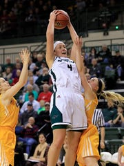 UWGB junior guard Caitlyn Hibner is staying active despite her routine being interrupted.