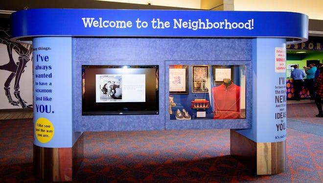 "An exhibit near the Kidsport at Pittsburgh International Airport includes information and artifacts from the popular ""Mister Rogers' Neighborhood"" TV show that was filmed in Pittsburgh for 33 years."