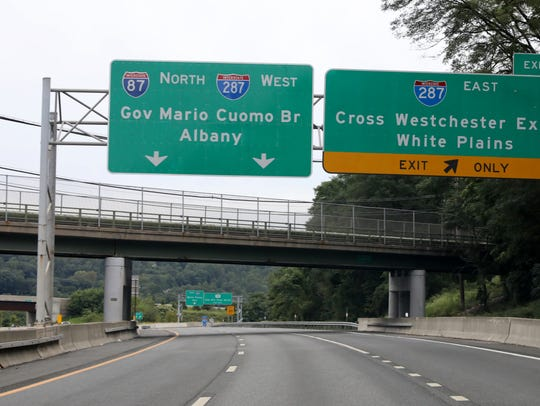 The large sign on the northbound New York State Thruway