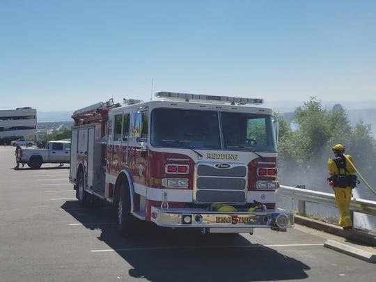 Firefighters were able to stop a vegetation fire before