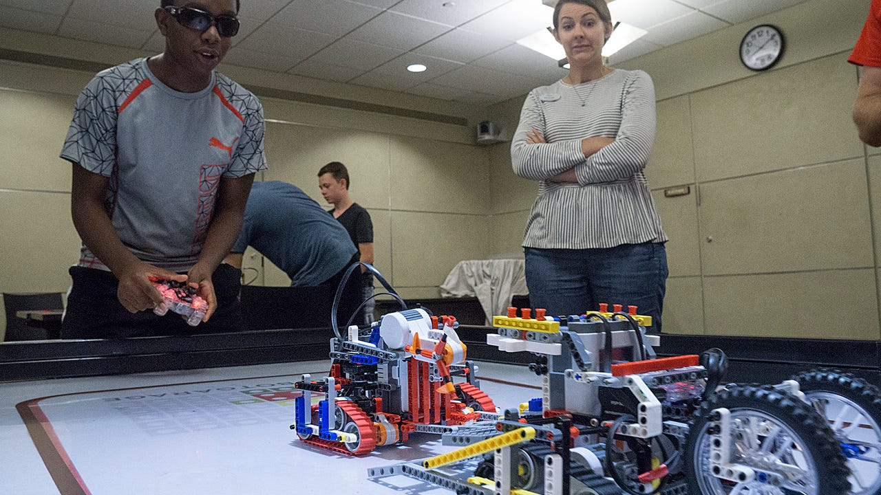 It was a spirited battle when the Baldwin Public Library hosted area teenagers for a high-energy Sumo Battle with LEGO robots.