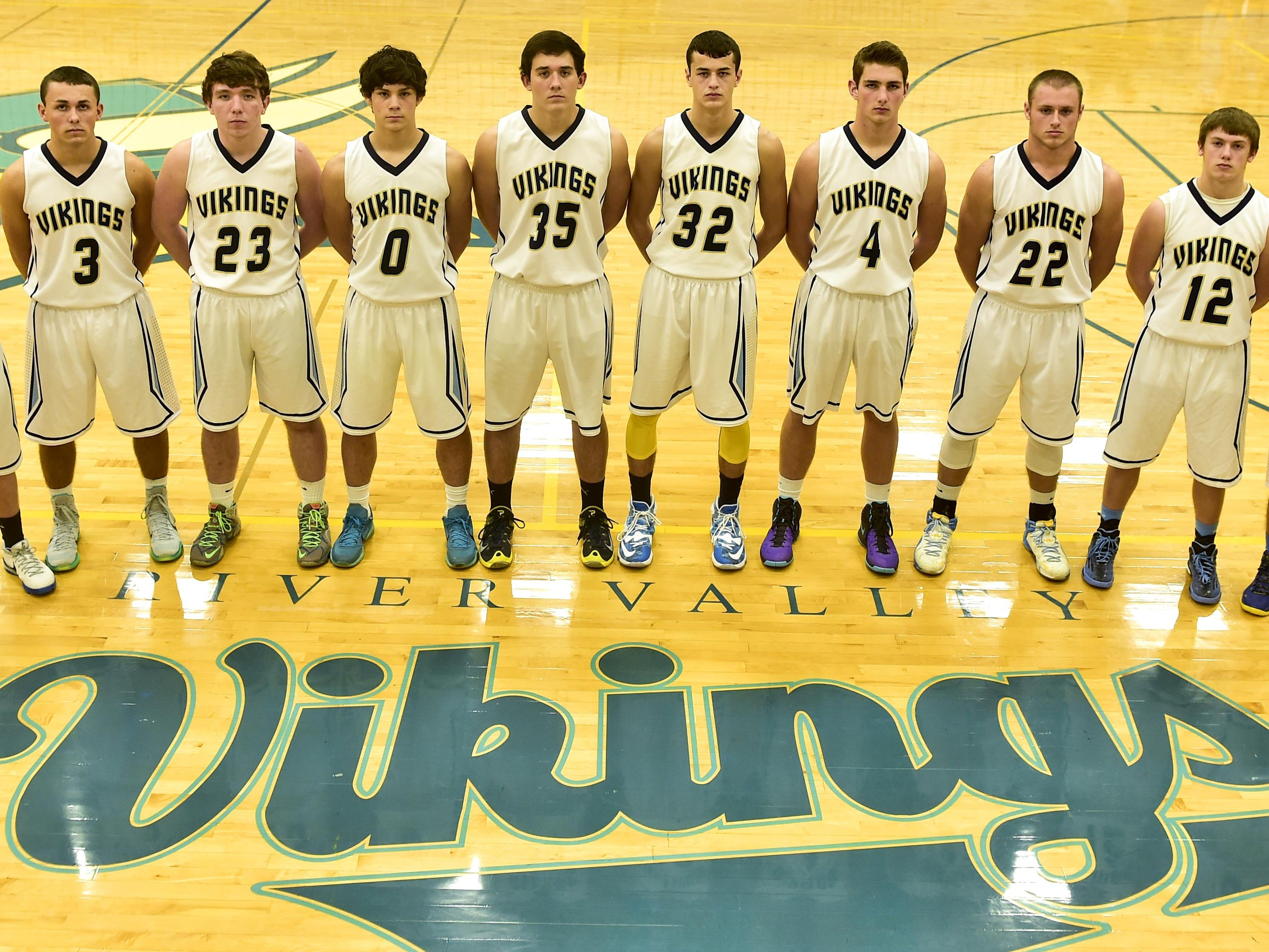 River Valley Boys Basketball 2015-2016 Row 1: (Left to Right) Hayden Wallace, Trent Waddell, Dustin Johns, Josh Ellwood, Tom Poorman, Danyon Hempy, Jax Harville, Carson Parsell, Gage Fogle, A.J. Issler