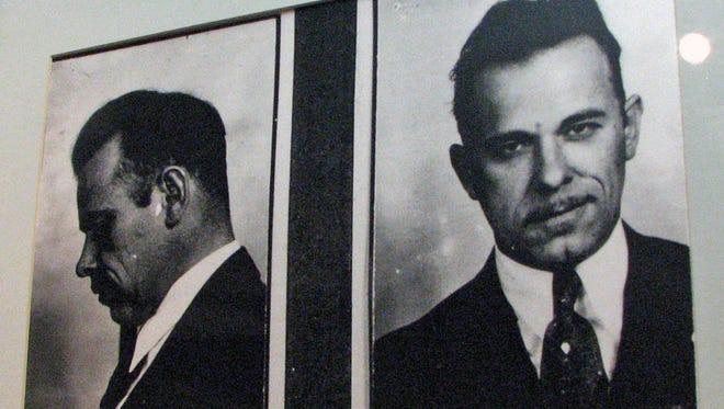 John Dillinger's mug shot taken after his arrest in Tucson in 1934.