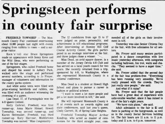 An Asbury Park Press article about Bruce Springsteen's July 1982 appearance at the Monmouth County Fair in Freehold.