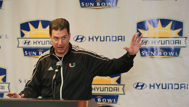 Miami offensive coordinator James Coley spoke Thursday.