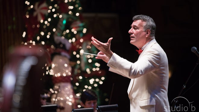 Alfred Savia conducting the Peppermint Pops concert. The holiday concert will return at 7 p.m. Saturday and 2 p.m. Sunday to The Victory.