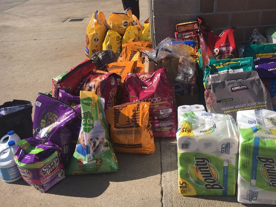Various pet and animal supplies were donated to the