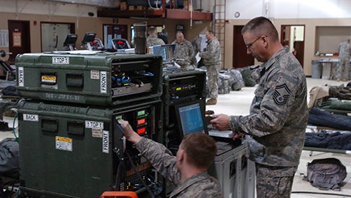 Airmen with the Wisconsin Air National Guard's 128th Air Control Squadron monitor communications provided by a Joint Incident Site Communications Capability in Alaska in 2014. Six members of Wisconsin's 115th Fighter Wing communications team deployed Saturday to Puerto Rico to help restore communications for Hurricane Maria first responders.