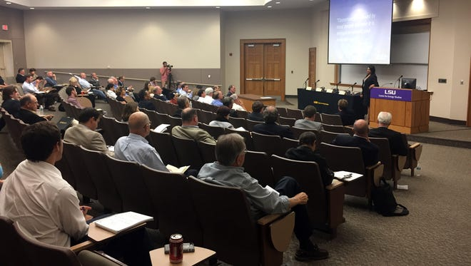 Attendees at the 2016 Energy Summit in the Dalton J. Woods Auditorium of LSU's College of the Coast and Environment listen to presentations.