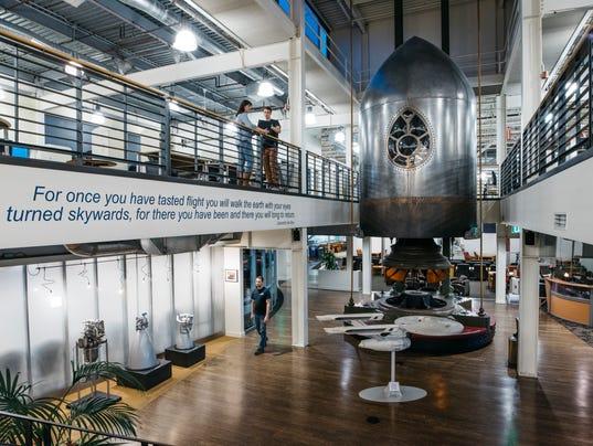 Jeff bezos offers glimpse of blue origin rocket plant for Office design kent