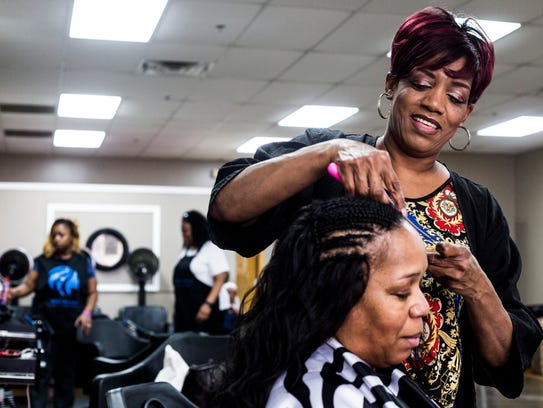 April 11, 2018 - Marilyn Thompson is a hairstylist,