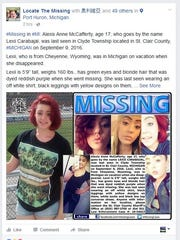 Alexis Anne McCafferty, 17, was last seen Friday in Clyde Township.