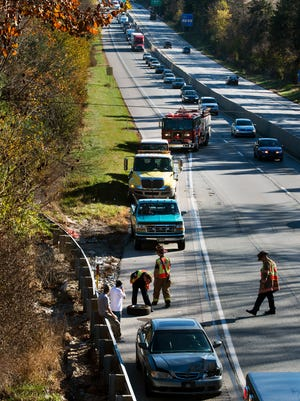 Accident on Interstate 83 northbound at the Sinking Springs Lane overpass Tuesday November 3, 2015 in Manchester Township.