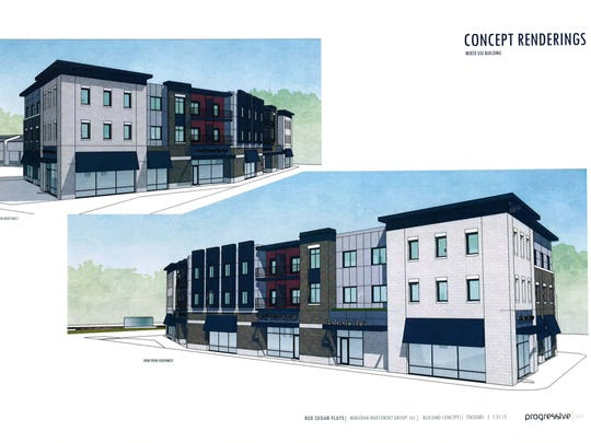These sketches show the design of student apartment buildings in the Red Cedar Flats project, which is leasing now for fall 2016 occupancy in Meridian Township.