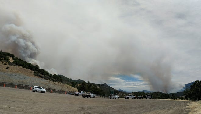 Rising smoke observed on the Klamathon Fire near the California-Oregon border Friday, July 6.