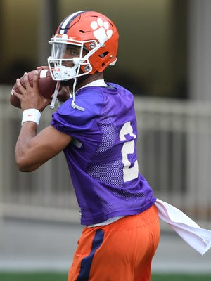 Clemson quarterback Kelly Bryant (2) during the Tigers' opening day of spring practice on March 1.