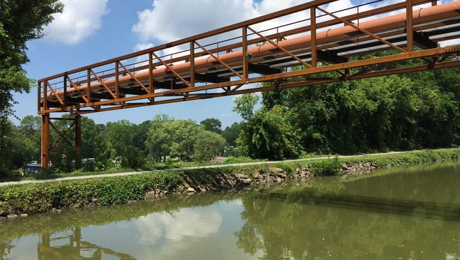 The new pipeline bridge over the Erie Canal in Perinton. The 24-inch pipe carries drinking water.