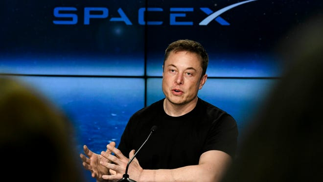 SpaceX CEO Elon Musk speaks at Kennedy Space Center in February.