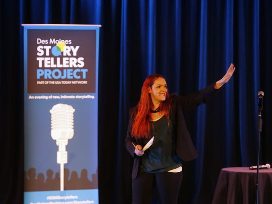 Register reporter Courtney Crowder introduces the next teller Thursday, June 23, 2016, during the Des Moines Storytellers Project at in Des Moines.