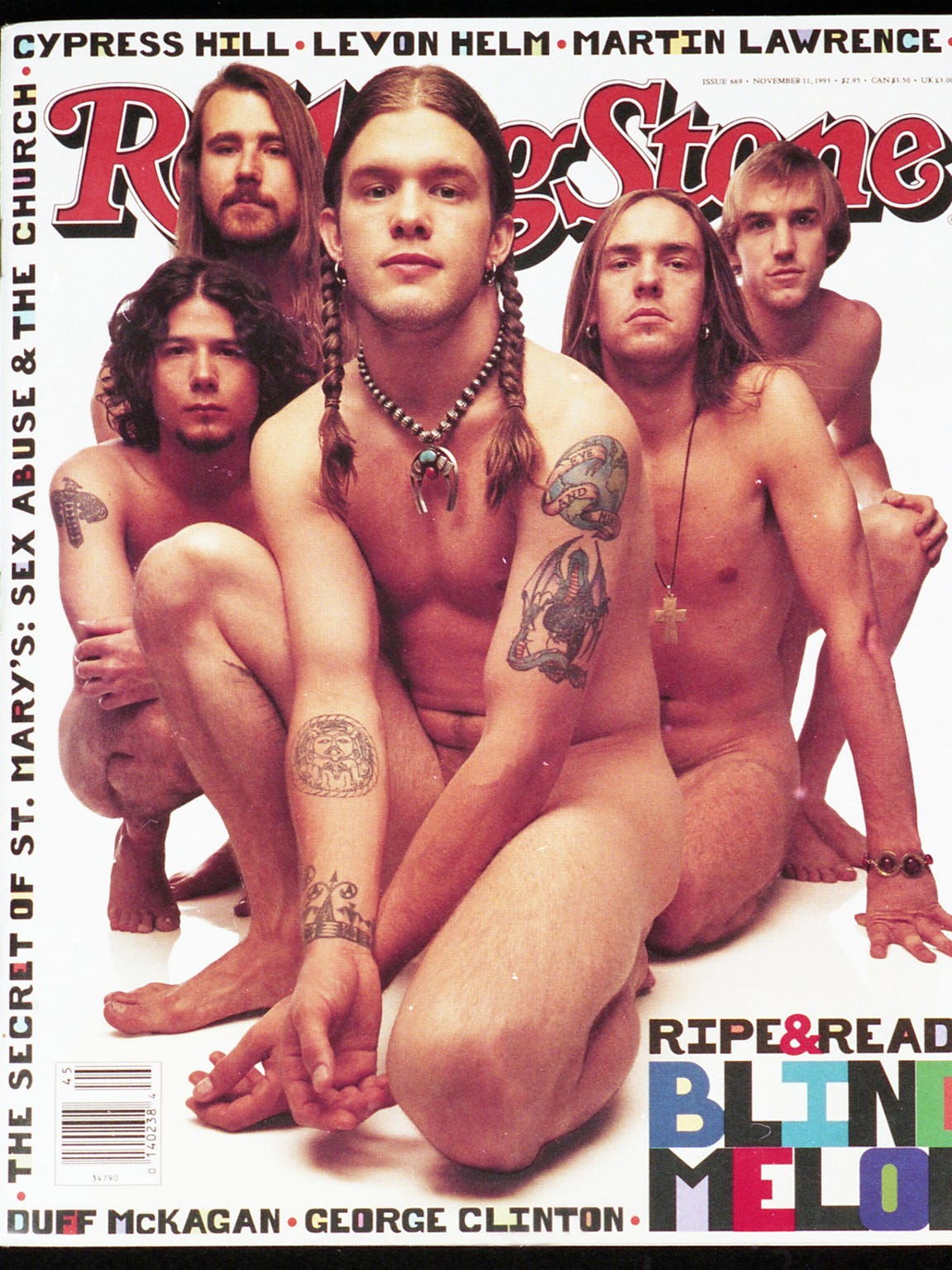 Hoon (front) and the rest of Blind Melon bare it all