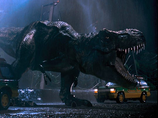 The signature Tyrannosaurus rex from the original 'Jurassic Park' is back in the new film.