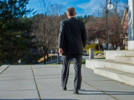 Speaker of the House Shap Smith walks away from the