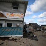 Homes badly damaged by Superstorm Sandy are seen in the Ortley Beach section of Toms River in November 2012.