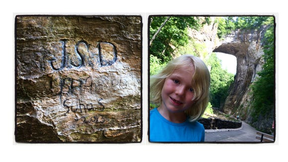 LEFT: Initials carved into the rock under the Natural Bridge back in the 1800s. RIGHT: Abi Tripp, 6, at the Natural Bridge.