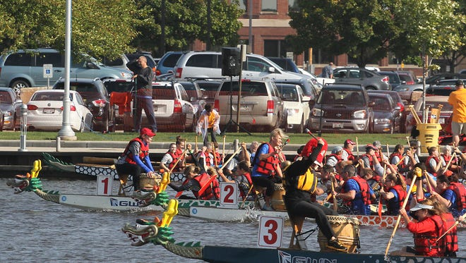 Dragon Boats made their way up and down the Fox River Saturday at the Leach Amphitheater in their ninth year. The festival started in 2006 as part of the UW Oshkosh Fall Fest on the Fox.