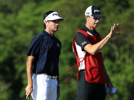 SOUTHAMPTON, NY - JUNE 14:  Bubba Watson of the United States and caddie Ted Scott talk on the second hole during the first round of the 2018 U.S. Open at Shinnecock Hills Golf Club on June 14, 2018 in Southampton, New York.  (Photo by Andrew Redington/Getty Images)