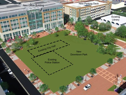 This artist's rendering shows the new buildings and park planned for downtown Royal Oak's civic area – a project called Rethink Royal Oak.
