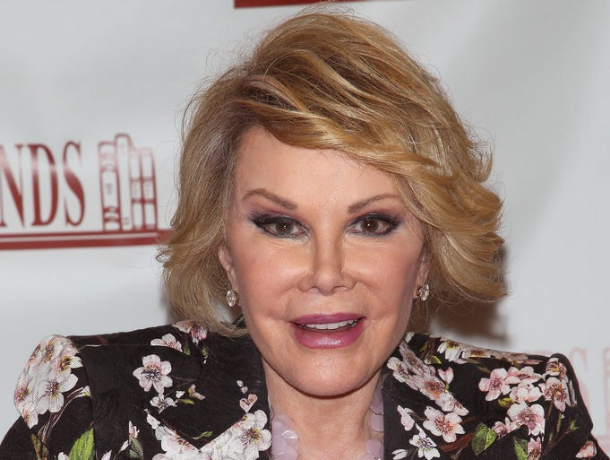 """Joan Rivers died Thursday at Mount Sinai Hospital in New York, where she was rushed after she stopped breathing during surgery on her vocal chords at an endoscopy clinic on Aug. 28. Rivers had become a living legend with her unapologetic style of comedy and daring sense of fashion. Here's a look back at the diva's ultra-glam ensembles over the years. Rivers, who had recently written the book """"Diary Of A Mad Diva,"""" signs copies at Bookends Bookstore on July 1 in Ridgewood, N.J."""