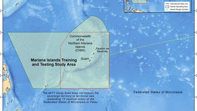 A map of the Mariana Islands Training and Testing Study Area.