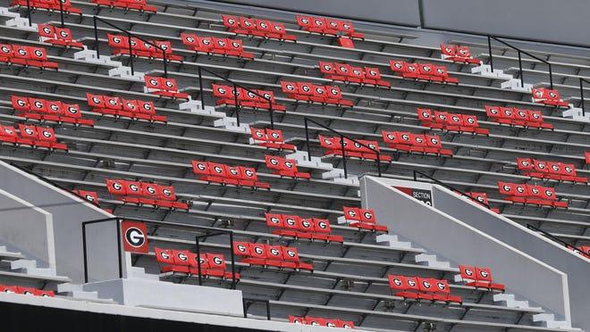 Social distance seating at Sanford Stadium in Athens, Ga, on Thursday, Sept. 3, 2020.