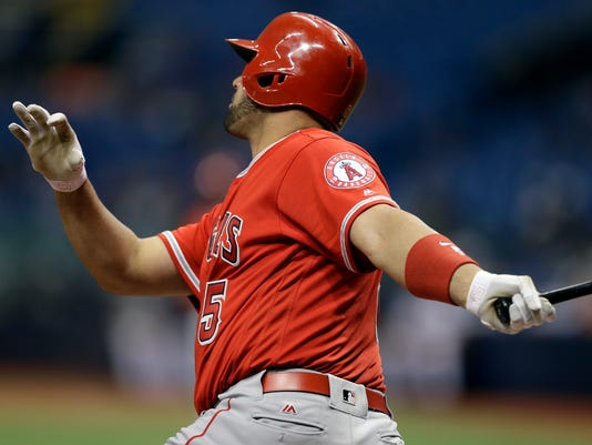 Los Angeles Angels' Albert Pujols connects for a two-run home run off Tampa Bay Rays pitcher Erasmo Ramirez during the first inning of a baseball game Wednesday, May 24, 2017, in St. Petersburg, Fla. (AP Photo/Chris O'Meara)