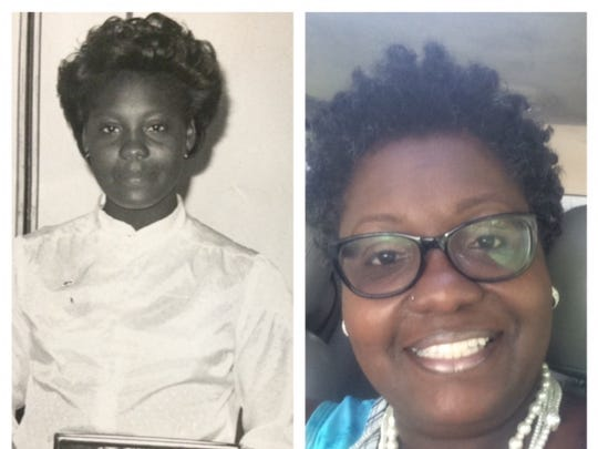 Patricia Davis-Griffin, in 1982 when she was named best newspaper carrier in New York, and today.