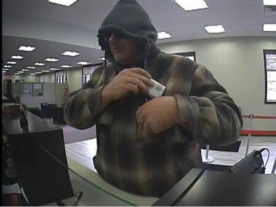 Surveillance image of a suspect who reportedly robbed the Key Bank in Pittsford on Wednesday.