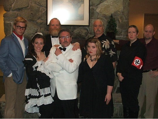 "From left: Nick DeJong, Michelle Fritsche, Erik Olson, Scott Fritsche, Any Heitmann, James Hawkins, Stacey Drenk and Dan Drenk in ""The Last Laugh"" written by Dan Drenk. The Artista! Players will be performing ""Murder at the Howard Johnson's"" this Friday and Saturday at the restaurant above the Central Wisconsin Airport."