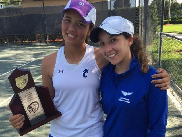 Canterbury eighth-grader Emily Javedan, left, stands with senior doubles partner Eve Bailey after clinching a Class A individual state tournament berth.