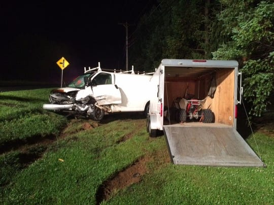 Mark Cassel, 41, Manheim, was driving this work van when it was involved in a crash with a car at 9:44 p.m. Monday on Route 934 in South Annville Township.