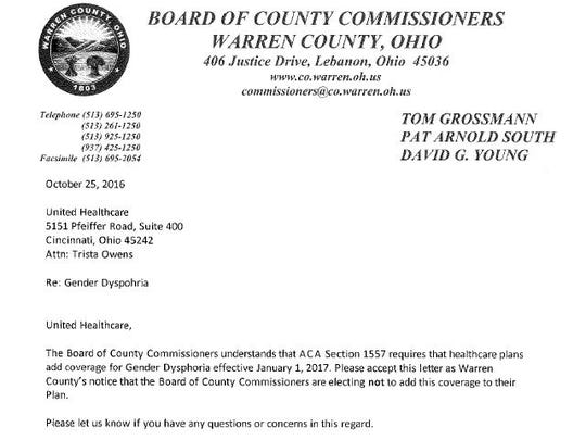This is a screenshot of the letter Warren County commissioners sent their healthcare provider earlier this week.