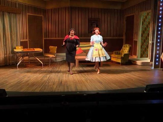 """Kenney Green (right) and Mary McNulty (left)  in New Harmony Theatre's production of """"Ruthless, the Musical!"""""""