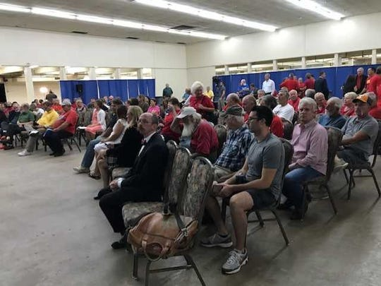 The crowd at Thursday's fair board meeting, where citizens weighed in on Mayor Megan Barry's proposed Major League Soccer stadium.
