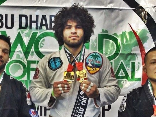 Brazilian jiu-jitsu practitioner Mike Carbullido wins double gold at the Abu Dhabi Trials brown belt division in Montreal, Canada.