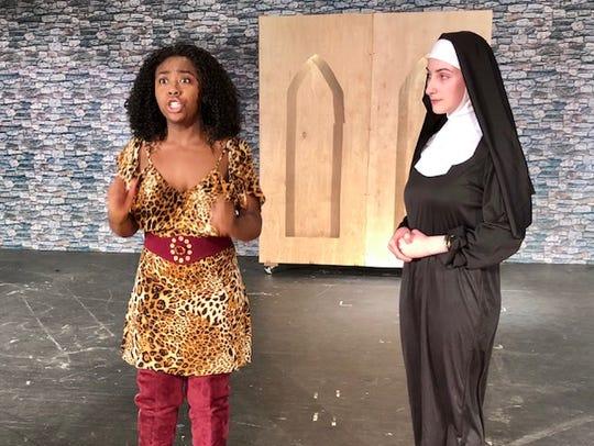Amaya White, senior, plays Deloris and Madison Steinert,