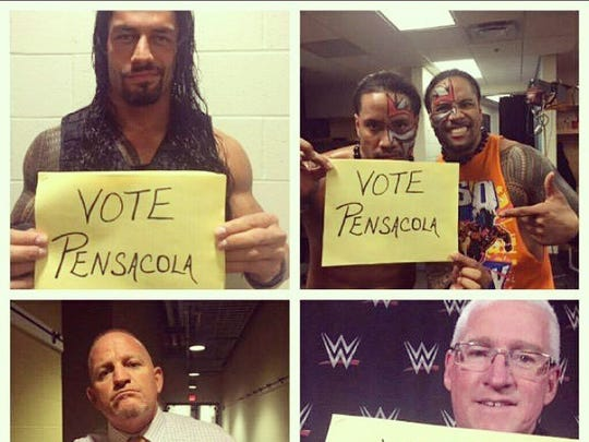 """World Wrestling Entertainment superstars Roman Reigns, top left and the Uso Brothers, Jimmy and Jey, from Pensacola, and wrestling legends Brian """"Road Dogg"""" James and Scott Armstrong used their social media might to drum up votes for Gulf Islands National Seashore in the final stretch of the USA Today """"Best Florida Beach"""" poll. The poll ends at 11 a.m. Monday, March 16."""