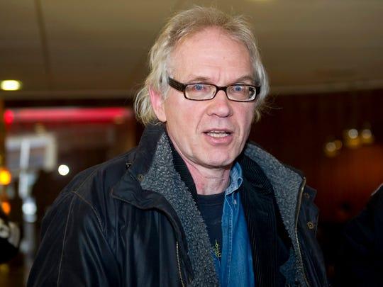 Swedish artist Lars Vilks meets the press after appearing
