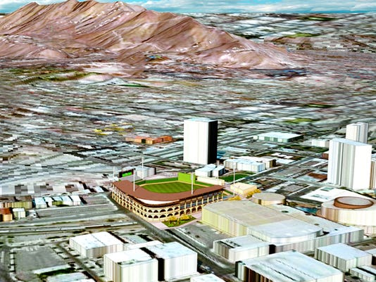 An artistic rendering shows the proposed $50 million baseball stadium in Downtown El Paso.