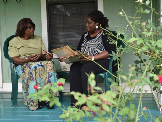 Willie Mae Brown and daughter Tyna McNealy visit on