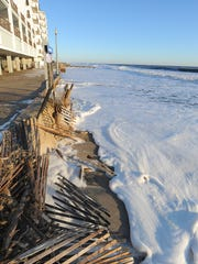 Sunday morning January 24th high tide at Rehoboth Beach showed a massive loss of the dune line, severe beach erosion along with boardwalk damage on the north end near the Henlopen Hotel.